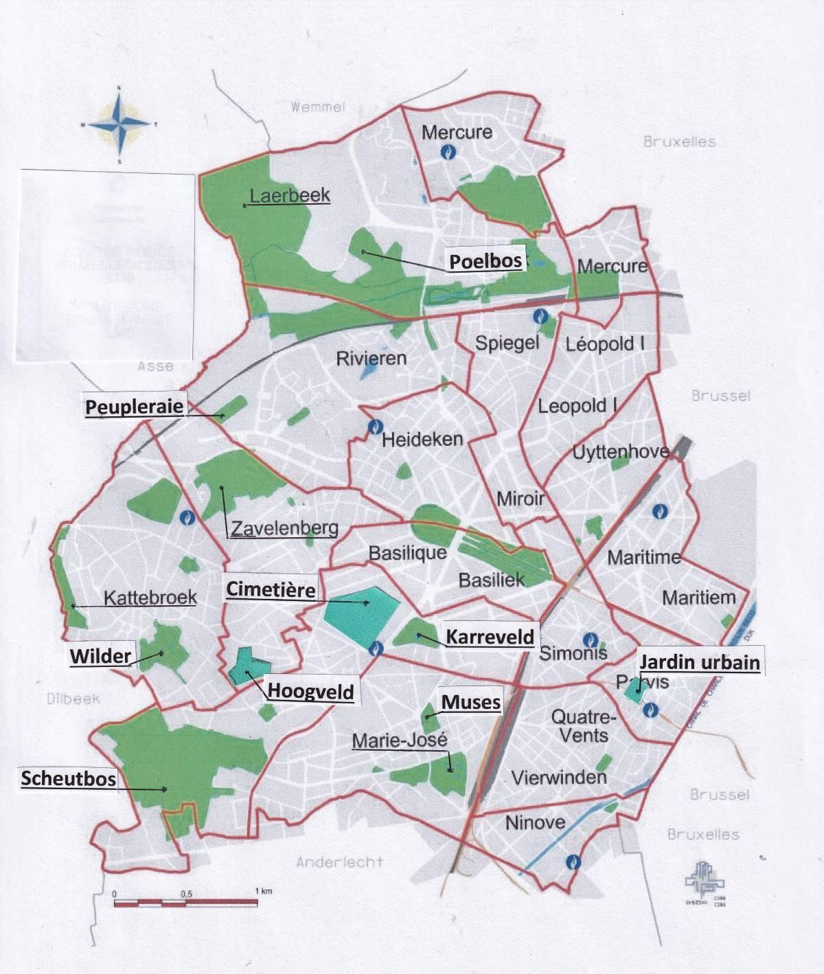 Carte de situation des espaces verts de bruxelles ouest